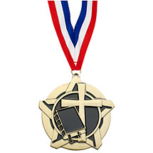 Religion Academic Star Medal with Free Neck Ribbon