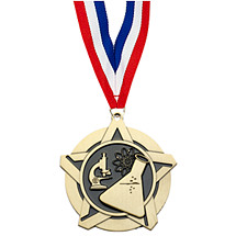 Science Academic Star Medal with Free Neck Ribbon