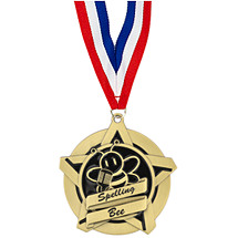 Spelling Bee Academic Star Medal with Free Neck Ribbon