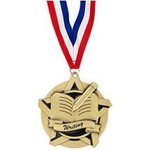 "2 1/4"" Writing Academic Star Medal with 30 in. Neck Ribbon"
