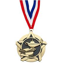 Lamp of Learning Academic Star Medal with Free Neck Ribbon