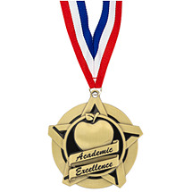 Academic Excellence Star Medal with Free Neck Ribbon