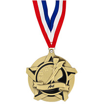 "2 1/4"" Art Academic Star Medal with 30 in. Neck Ribbon"