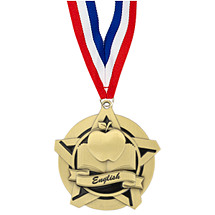 English Academic Star Medal with Free Neck Ribbon