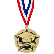 "2 1/4"" Graduate Academic Star Medal with 30 in. Neck Ribbon"