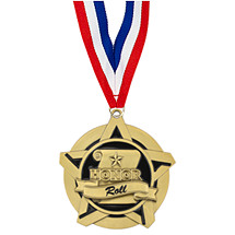"2 1/4"" Honor Roll Academic Star Medal with 30 in. Neck Ribbon"