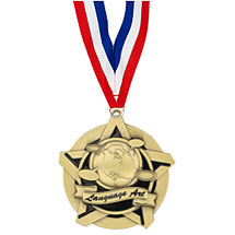 "2 1/4"" Language Art Academic Star Medal with 30 in. Neck Ribbon"