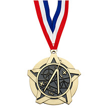 Math Academic Star Medal with Free Neck Ribbon