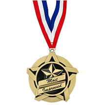 "2 1/4"" Most Improved Academic Star Medal with 30 in. Neck Ribbon"