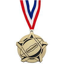 Football Medal - Football Star Medal with 30 in. Neck Ribbon