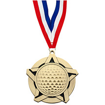 Golf Medal - Golf Star Medal with 30 in. Neck Ribbon