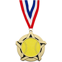 Softball Medal - Softball Star Medal with Free Neck Ribbon
