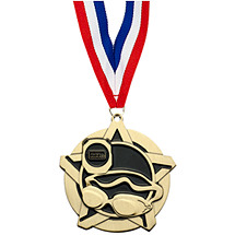 Swim Medal - Swim Star Medal with Free Neck Ribbon