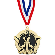 Victory Medal - Victory Star Medal with Free Neck Ribbon