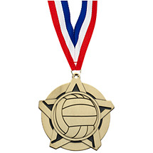 Volleyball Medal - Volleyball Star Medal with Free Neck Ribbon