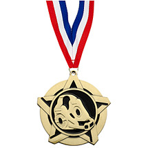 Wrestling Medal - Wrestling Star Medal with Free Neck Ribbon