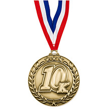 "10K Medal - Large 2 3/4"" Achievement Wreath Medal with Ribbon"