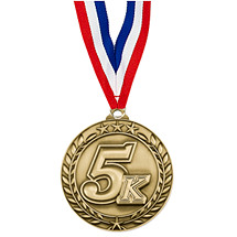 "5K Medal - Large 2 3/4"" Achievement Wreath Medal with Ribbon"