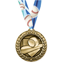 "Baseball Medal - Small 1 3/4"" Achievement Wreath Medal with Ribbon"
