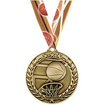 Basketball Medal - Small Achievement Wreath Medal with Ribbon