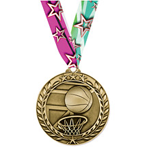 "Basketball Medal - Small 1 3/4"" Achievement Wreath Medal with Ribbon"