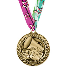 "Cheer Medal - Small 1 3/4"" Achievement Wreath Medal with Ribbon"
