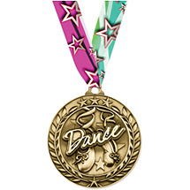 Dance Medal - Large Wreath Medal with Ribbon