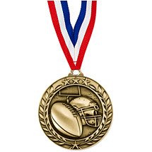 "Football Medal - Small 1 3/4"" Achievement Wreath Medal with Ribbon"