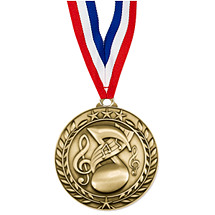 "Music Medal - Small 1 3/4"" Achievement Wreath Medal with Ribbon"