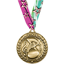 """Music Medal - Large 2 3/4"""" Achievement Wreath Medal with Ribbon"""