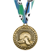 Soccer Medal - Large Achievement Wreath Medal
