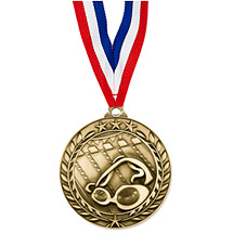 "Swimming Medal - Large 2 3/4"" Achievement Wreath Medal with Ribbon"