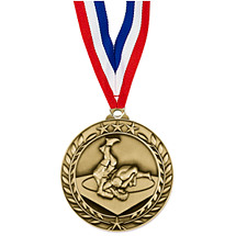 "Wrestling Medal - Small 1 3/4"" Achievement Wreath Medal with Ribbon"