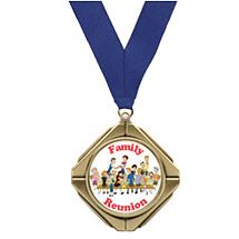 "Diamond Medal with Emblem & 30"" Neck Ribbon"