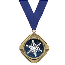 "Diamond Medal with Emblem & 30"" Neck Ribbon"