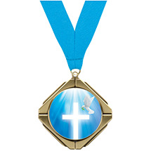 Religious Medal - Cross and Dove Diamond Medal