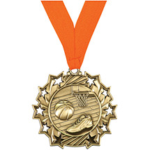 Basketball Medal - Basketball Ten Star Gold Medal