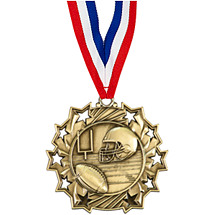 Football Medal - Football Ten Star Gold Medal