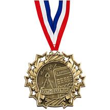 Math Ten Star Gold Medal with Ribbon