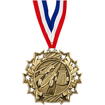 Pinewood Derby Medal - Derby Ten Star Gold Medal