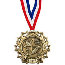 Science Ten Star Gold Medal with Ribbon