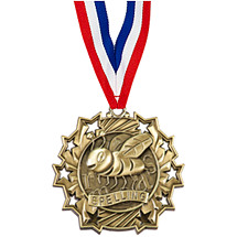Spelling Ten Star Gold Medal with Ribbon