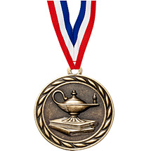 "2"" Lamp of Learning Medal with 30 in. Neck Ribbon"
