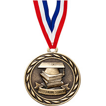 "2"" Outstanding Student Medal with 30 in. Neck Ribbon"