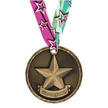 3D Star Performer Medal with Neck Ribbon