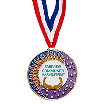 "2"" Custom Enamel Medal with 30"" Ribbon"