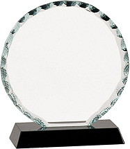 "6 1/2 - 7 1/2"" Round Clear Glass Award with Black Acrylic Base"