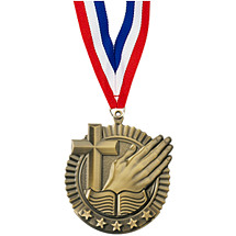"2 3/4"" Religious Star Medal with Ribbon"