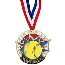 "Softball Medal - 2"" Colorful Softball Medal with Neck Ribbon"