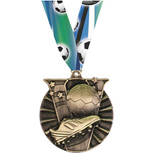 Victory Soccer Medal with Neck Ribbon